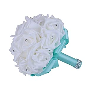 vLoveLife Turquoise Wedding Bouquet Bridal Bridesmaid Bouquets Artificial Rose Flower Handmade Posy Wedding Home Decor 81