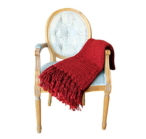 ZIGGUO Chunky Thread Knitted Throw Blanket Red for Couch Chair Sofa Bed, Decorative Fringe Boho Style Woven Pattern (Red Throw Large Sofa)