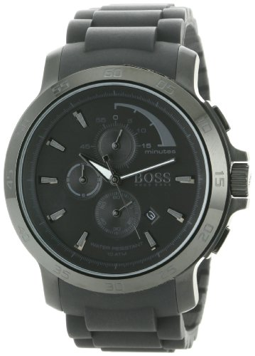 Hugo Boss 1512393 Chronograph Black Ion Silicone Quartz Mens Watch