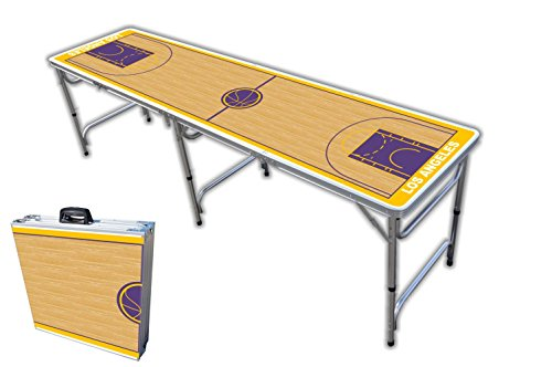 8-Foot Professional Beer Pong Table - Los Angeles Basketball Court Graphic