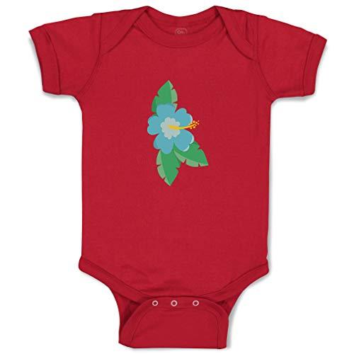 Custom Boy & Girl Baby Bodysuit Blue Hawaii Flower Leaves Funny Cotton Baby Clothes Garnet Design Only 12 Months