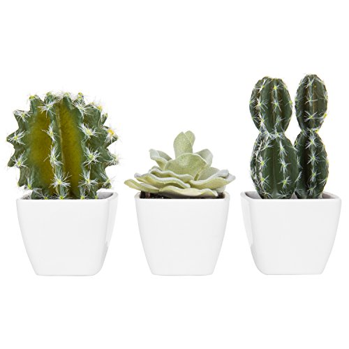 MyGift Set of 3 Artificial Cactus Plants in White Mini Garden Pots