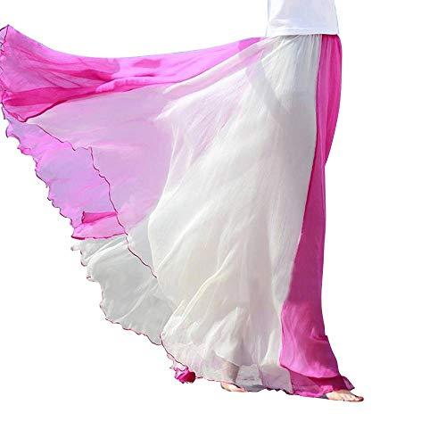 t Swing Full Circle Skirt Flowing Maxi Skirt -Red White-S ()