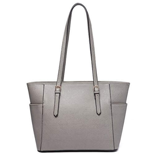 Faux Bag 1642 Large Miss Women Tote Leather Grey Shoulder 1 Handbag Adjustable Handle Lulu BREqRp