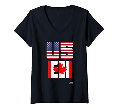Womens Jame's Designs: USEH US EH USA American Canada Canadian Flag V-Neck T-Shirt