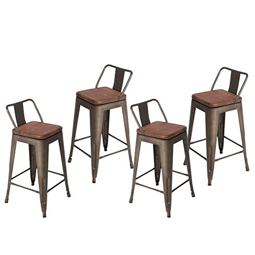 Barstools Dining Chairs Set Industrial Counter Height Chair (Pack of 4) Patio Chair Wooden Seat 26