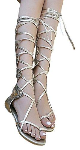 Knee Sandals Women IDIFU Gold Gladiator Shoes 57FSx1