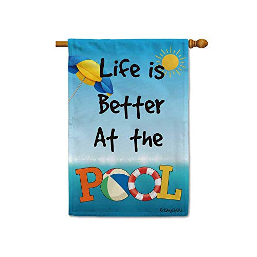 - BAGEYOU Life is Better at The Pool Summer House Flag Beach Lifebuoy Decor Banner for Outdoor 28x40 Inch Printed Double Sided