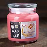 Doctor Who Rose Tyler Candle - Fresh Cut Rose Scented Soy Candle - Bad Wolf TARDIS Candle