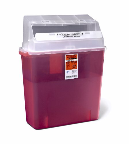 Medline MDS705203 Sharps Container, 3 gal, Sliding Lid, Red (Pack of 12)