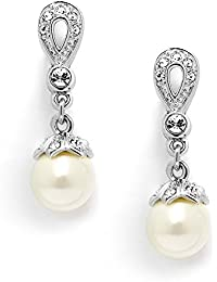 Vintage CZ and Ivory Pearl Drop Clip On Wedding Earrings for Brides - Genuine Platinum Plated
