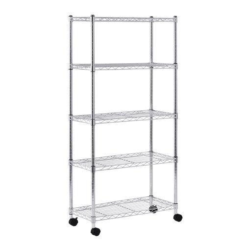 - Sandusky MWS301460 Mobile Wire Shelving - 5 Tier with 2 Inch Nylon Casters, Silver