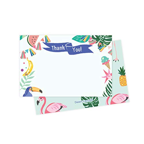 Tropical Hawaiian Thank You Cards (25 Count) With Envelopes & Seal Stickers Bulk Birthday Party Bridal Blank Graduation Kids Children Boy Girl Baby Shower (25ct)]()
