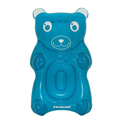 Swimline 90745 Gummy Bear Float Inflatable Vinyl Pool Lounger w/Headrest, Blue (Pool Bear)