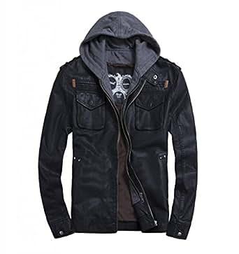 LXTH00o Men's Classic Faux Leather Zip Hooded Biker Rock ...