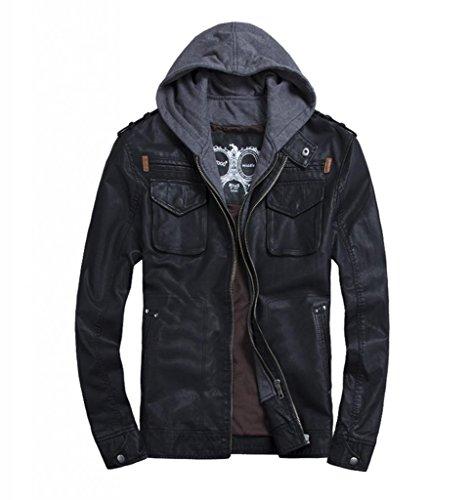 LXTH00o Men's Classic PU Zip Hooded Biker Rock Punk Jacket Coat Black XXL