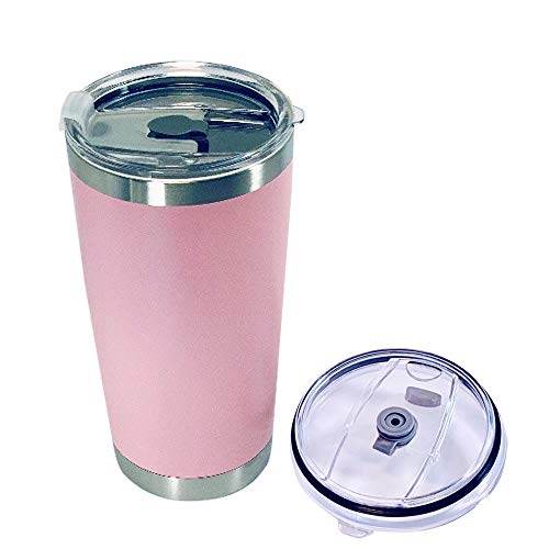 BioRing, Travel Mug Double Stainless Steel Wall Vaccum Insulated Coffee Tumbler With Sealed Anti Leaking Splash Lid Straw Hole, Keep Drink In Desired Temperature for 12 Hour Home Car (Pink, 20 oz)