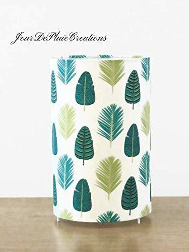 lampe tube motif feuilles exotiques vertes tropical palmier