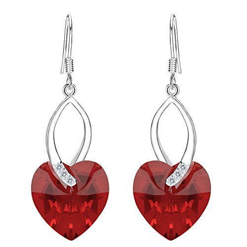 EleQueen 925 Sterling Silver CZ Love Heart French Hook Dangle Earrings Siam Color Made with Swarovski Crystals -