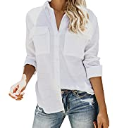 Cisisily Women's Long Sleeve Button Down Shirts Casual Vintage Basic Plain Blouses Tops with Pockets