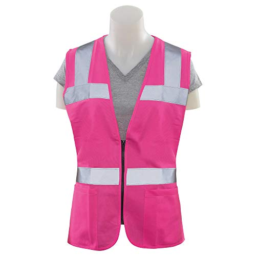 Silent Shell Jacket - ERB 61913 S721 Non-ANSI Hi-Vizability Female Fitted Vest, Pink, 2X-Large