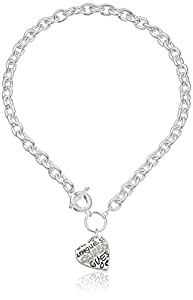 """GUESS """"Basic"""" Silver and Crystal Graffiti Heart Toggle Pendant Necklace, 16"""""""