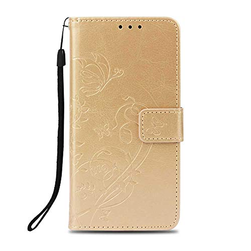 (Galaxy A6 2018 Case, UNEXTATI Wallet Case Leather Cover for Samsung Galaxy A6 2018, Premium Flip Protective Case with Card Holder, Kickstand, Wrist Strap (Gold)
