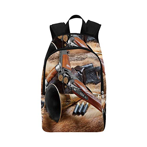 Hunting Decor Durable Backpack,Hunting Materials on Fur Rifle Ammunition Cartridge Knife Sheath Decorative for Adults,11.81