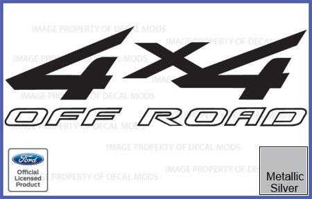 Ford F250 F350 F450 4x4 Offroad Metallic Silver Decals Stickers -CMS (1997-2010) Super Duty