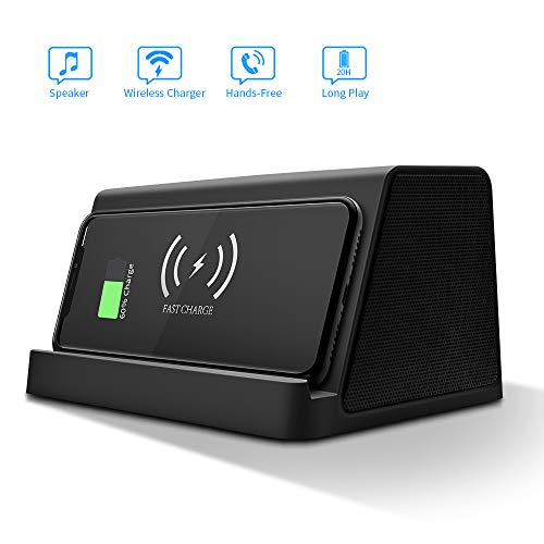 Portable Speaker,Wireless Charging,Power Bank,EIATBF 3in1 Bluetooth Speaker&Wireless Charger Stand&4000mAh Portable Charger.Tri-Bass Effect.Compatible with IphoneXS/X/XR/8/8PGalaxyS10+,S10,S9 And More (The Best Iphone Speakers)