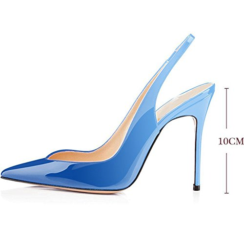 Stiletto Sandals Wedding High Sexy Gradient Ankle Strap Slingback Heeled Patent Stiletto Heels Toe Pumps Pointy Comfity Pumps Blue Tn7EEYXqP