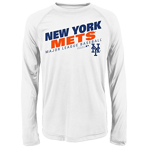 MLB Youth 8-20 Mets performance Long sleeve Tee, L(14-16), White