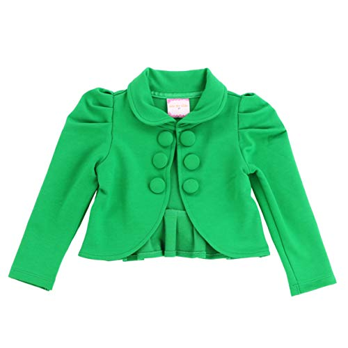 Toddlers and Girls French Terry Knit Ladonna Classic Bolero Crop-Jacket in Green 5