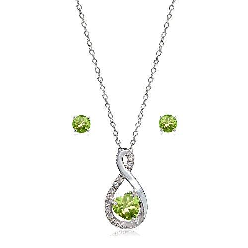 Peridot Topaz Jewelry Set (LOVVE Sterling Silver Peridot & White Topaz Infinity Heart Necklace Earrings Set)