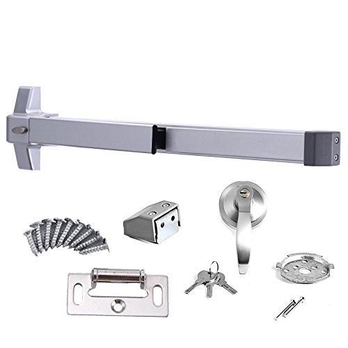 Panic Bar Door Locks (LOVSHARE Door Push Bar Commercial Panic Exit Device Stainless Steel Emergency Urgent Exit Panic Bar for Anti-theft and Fire escape (Push bar with Exterior Lever NO ALARM))