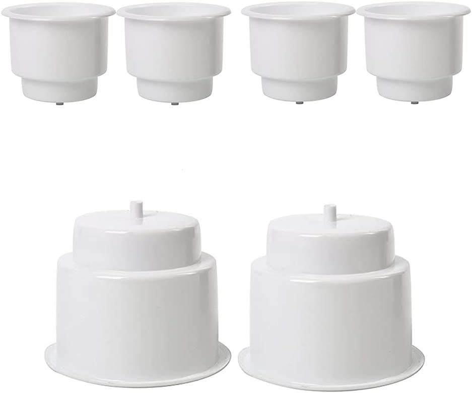 feiteng 6-Pack White Plastic Cup Drink Holder 3.515'' Size Bottle for Marine Boat RV Camper Insert