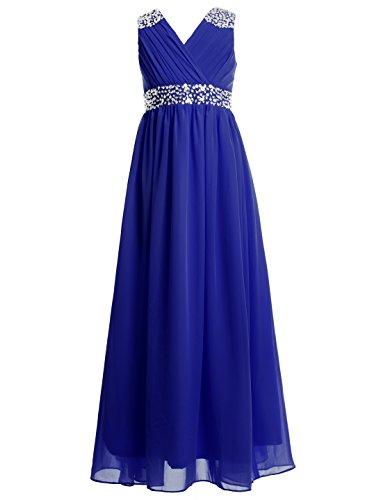 FAIRY COUPLE Girl's Embellished V-Neck Long Flower Girl Dress for Wedding K0156 10 Navy Blue