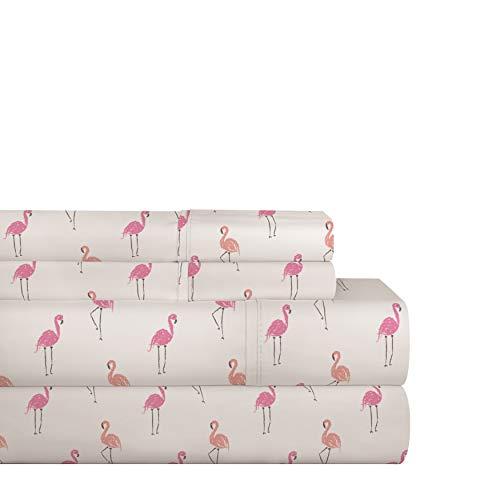Pointehaven 200TC Cotton Percale Prints and Solids Sheet Set Queen Flamingo Queen
