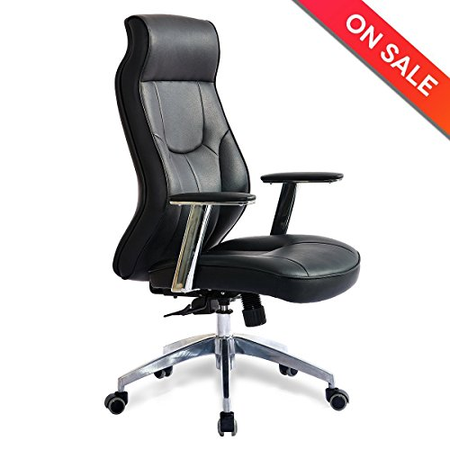 High Back Leather Office Chair - Adjustable Angle Recline Locking System Executive Computer Desk Chair, Ergonomic Curve Design For Lumbar Support by Lifang