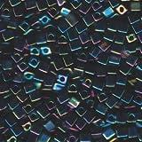 Miyuki Bead 4mm Squares Cube 20 Gram Opaque RAINBOW BLACK #401 915147