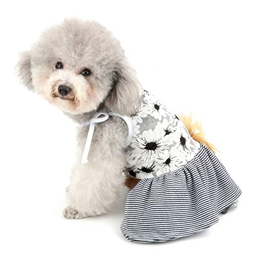 SMALLLEE_LUCKY_STORE Translucent Floral Small Dog Sundress with Flower Girl Pet Summer Strap Dress Layered Striped Skirt Yorkie Clothes,Small,Black