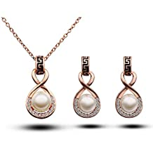 Fashion Jewelry Sets 18K Rose Gold Plated Freshwater Pearl Rhinestone Pendant Necklace and Earrings