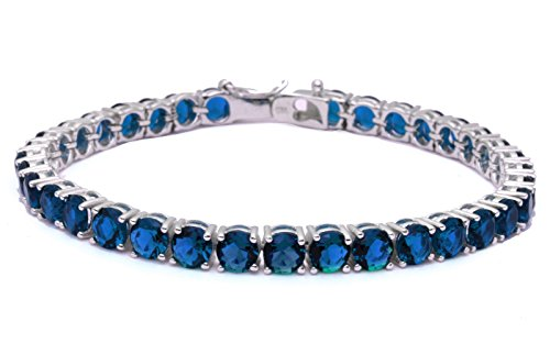 14.5CT Deep Simulated Blue Sapphire Fashion .925 Sterling Silver Bracelet 7.5