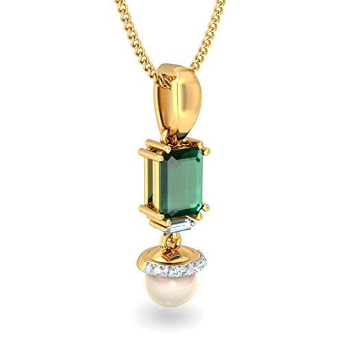 14K Or jaune 0.09carat Baguette et Round-cut-diamond (IJ | SI) et émeraude et pendentif de perle blanc cassé