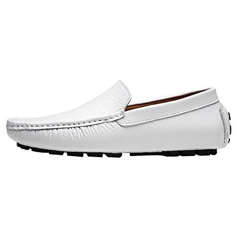 Rismart Heren Zachte Split Grain Leer Rijden Loafer Schoenen Comfortabele Mocassins Slippers Bootschoenen Wit Sn9100 Us11.5