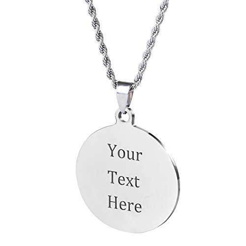 Custom Stainless Steel Pendant Necklace with Personalized Engraving 3 Shapes and 9 Chains to Choose (Metal Color & Round (Heart Round Necklace)
