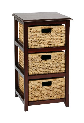 OSP Designs Office Star Seabrook 3-Tier Storage Unit with Natural Baskets, Espresso (Drawers Small Wicker)