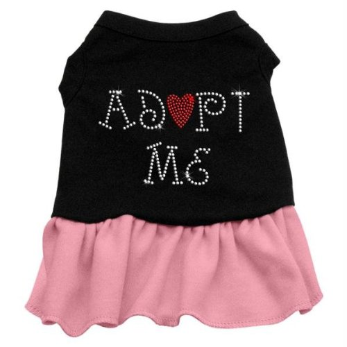 Mirage Pet Products Adopt Me 8-Inch Pet Dresses, X-Small, Black with Pink