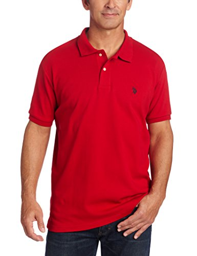 U.S. Polo Assn. Men's Solid Interlock Short Sleeve Polo, Engine Red, Large