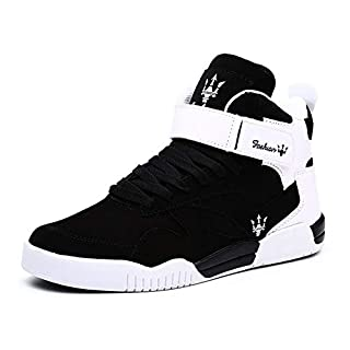 KUXIE Shoes Men's High Top Fashion Sneakers Outdoor Casual Sports Shoes Training Leather Shoes Mens Flats (10, M729-Black)